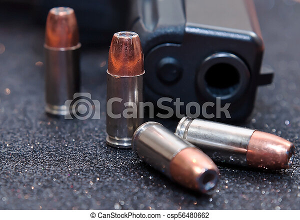 quatre, noir, pistolet, balles - csp56480662