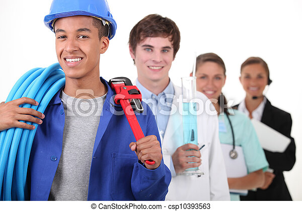 quatre, plombier, différent, professions, foyer - csp10393563