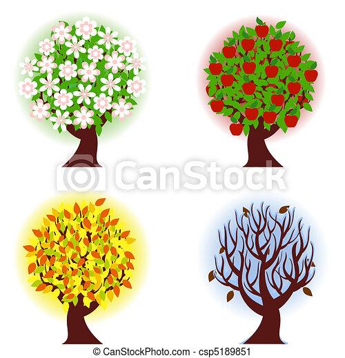 quatre, pomme, saisons, arbre. - csp5189851