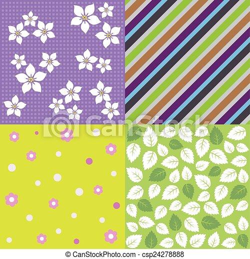 quatre, printemps, seamless, fond, motifs - csp24278888