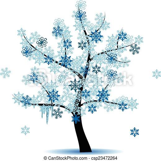 quatre, saison, -, arbre hiver - csp23472264