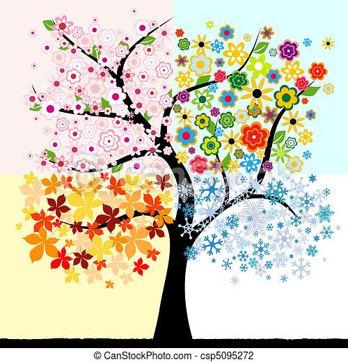 quatre, saison, arbre - csp5095272