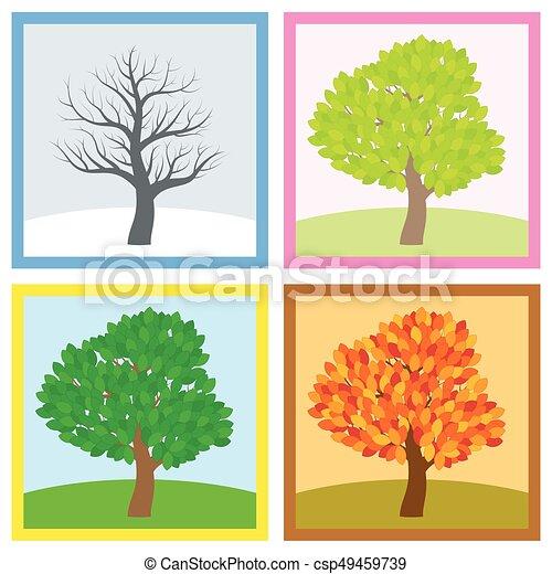 quatre saisons arbre changement ann e t hiver illustration printemps virage nuances. Black Bedroom Furniture Sets. Home Design Ideas