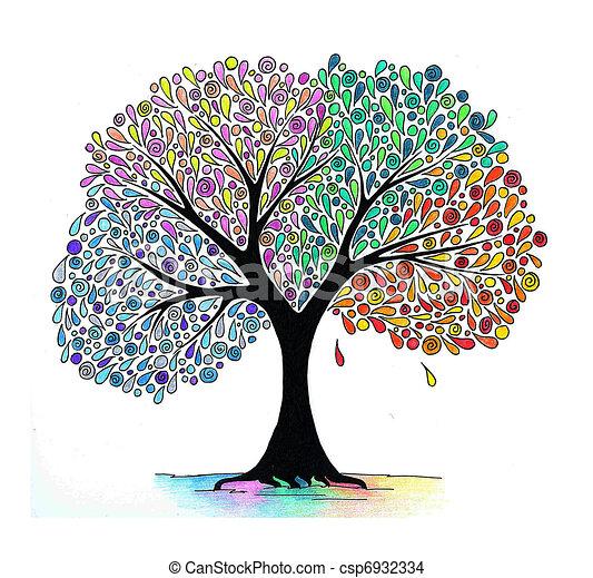 Quatre saisons arbre illustration r sum arbre main quatre saisons dessin - Dessin 4 saisons ...
