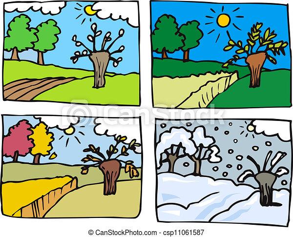 Quatre saisons dessin anim illustration quatre hiver printemps seasons illustration - Dessin 4 saisons ...