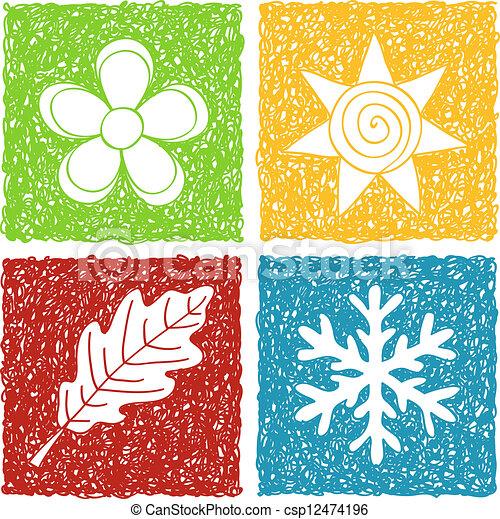 quatre saisons, griffonnage, icônes - csp12474196
