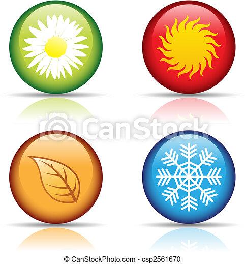quatre saisons, icônes - csp2561670