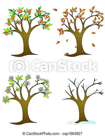 quatres saisons, -, bomen, colorfull - csp1863827