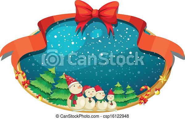 quatro, decoração, bonecos neve, natal - csp16122948