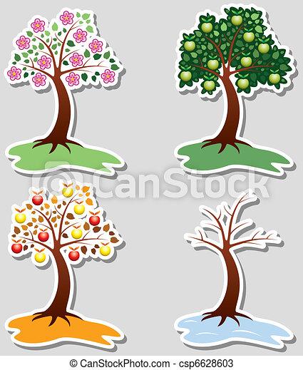 quatro estações, jogo, maçã, árvores - csp6628603