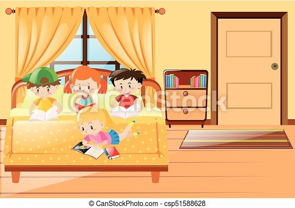 quattro, bambini, libro lettura, camera letto