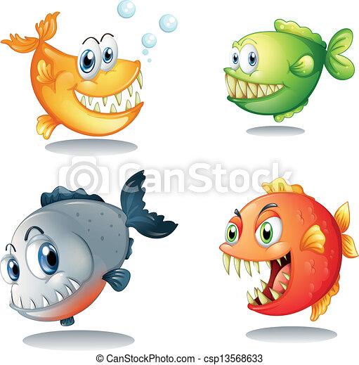quattro, differente, generi, grande, zanne, pesci - csp13568633