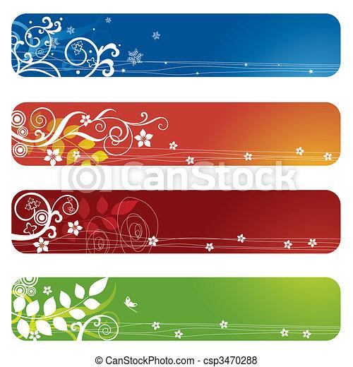 quattro, floreale, bandiere, bookmarks, o - csp3470288
