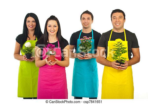 quattro, giardinieri, lavorante, fiori, offerta - csp7841651