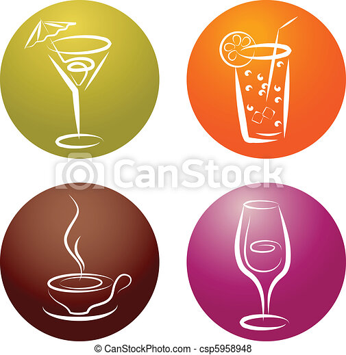 quattro, logos, differente, bevanda, icona - csp5958948
