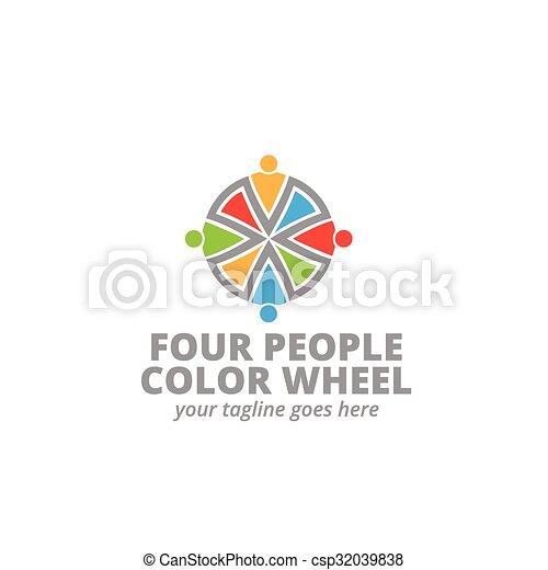 quattro persone, logotipo, icona - csp32039838