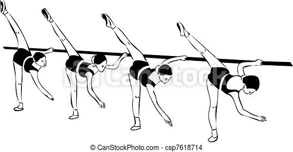 quattro, schizzo, ragazze, classe balletto - csp7618714