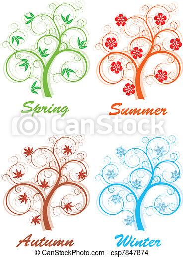 quattro stagioni, albero - csp7847874