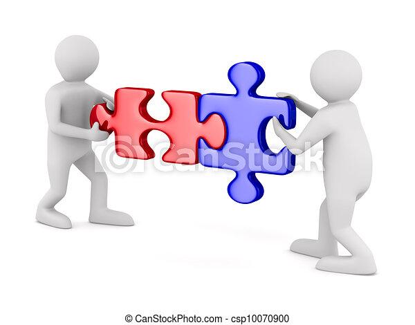 quebra-cabeça, dois, isolado, experiência., branca, homem, imagem, 3d - csp10070900