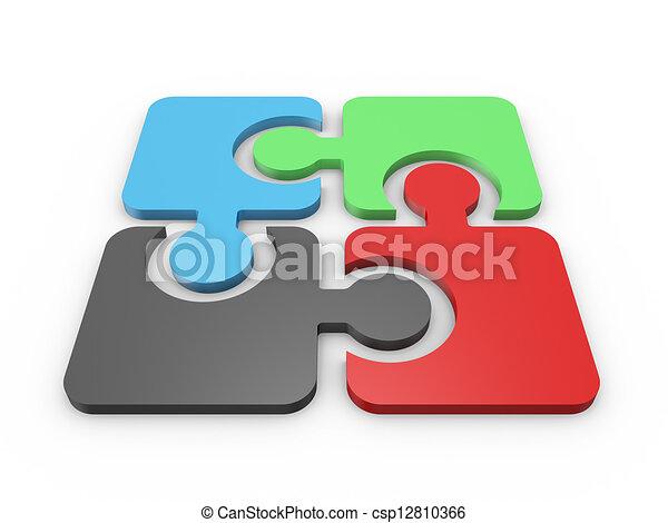quebra-cabeça, integrada, pedaços - csp12810366