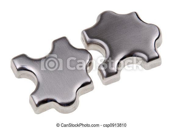 quebra-cabeça, metal, pedaços - csp0913810