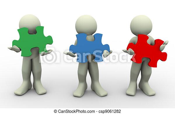 quebra-cabeça, pessoas, 3d, peaces - csp9061282