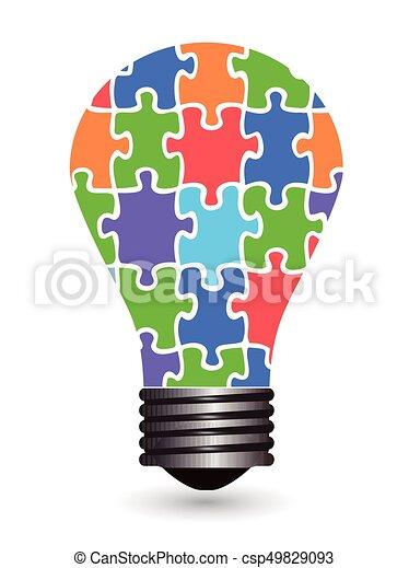 quebra-cabeças, bulbo leve - csp49829093
