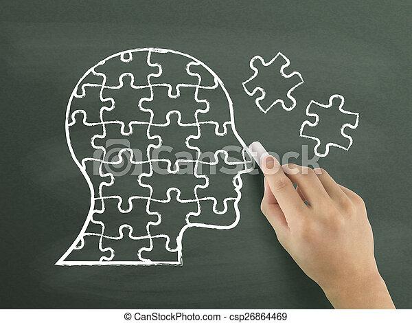 quebra-cabeças, desenhado, cabeça, forma, mão - csp26864469