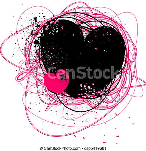 quebrada, grunge, coração - csp5419681