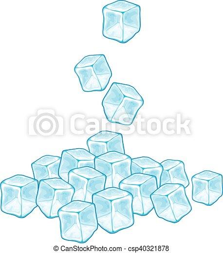 Queda Vetorial Cubos Gelo Queda Vetorial Gelo Ilustracao Cubos