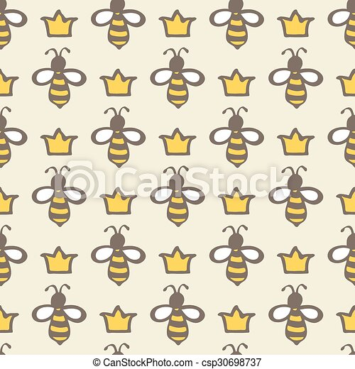 Queen Bee Handdrawn Seamless Cartoon Pattern With Bees And Crowns Mesmerizing Bee Pattern