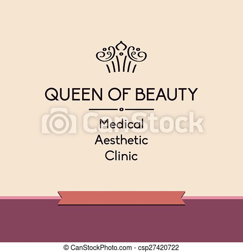 queen of beauty logo for aesthetic medicine clinic template vector