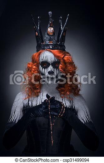 Queen Of Death Scary Halloween Female Queen Of Death Scary Body Art To Halloween