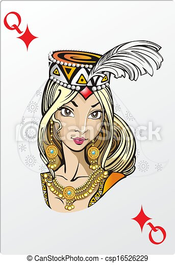 Queen of diamonds. Deck romantic graphics cards - csp16526229