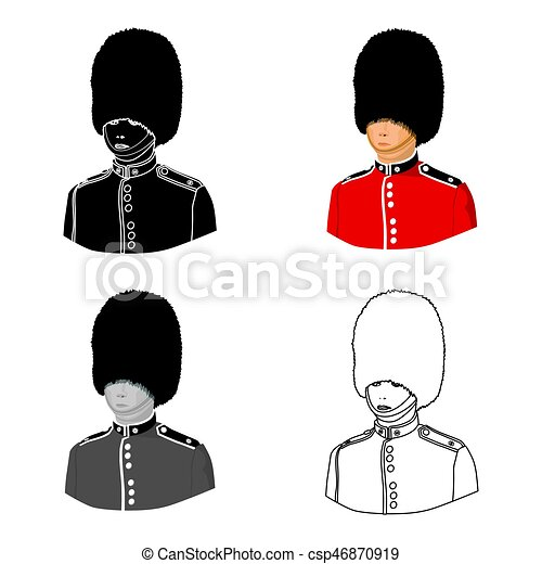 Queens Guard Icon In Cartoon Style Isolated On White Background England Country Symbol Stock Vector Illustration