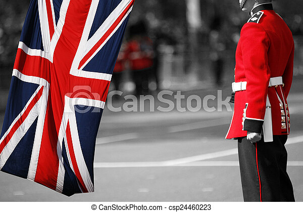 Queen's soldier at Trooping the color, 2012 - csp24460223
