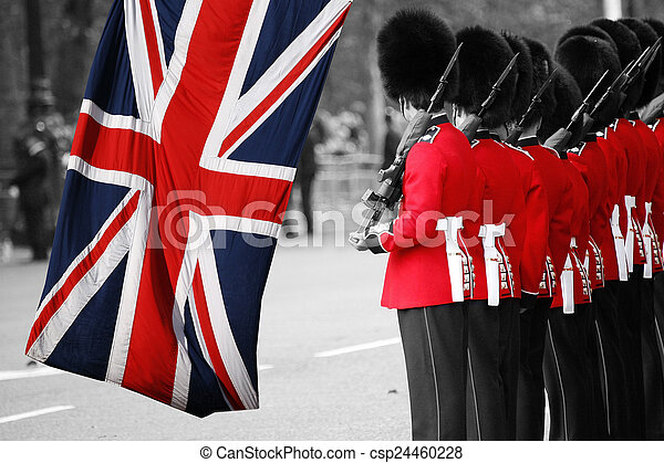 Queen's soldier at Trooping the color, 2012 - csp24460228