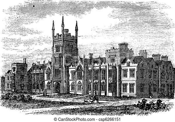 Queen's University in Belfast,Ireland, vintage engraving from the 1890s - csp6266151