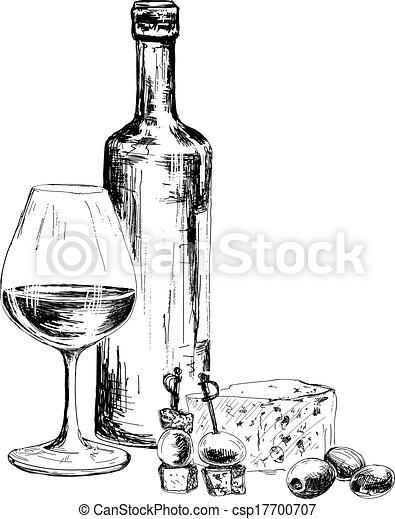 queijo azul, garrafa, vinho - csp17700707