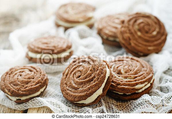 queijo, biscoitos, creme, sable, chocolate - csp24728631