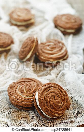 queijo, biscoitos, creme, sable, chocolate - csp24728641