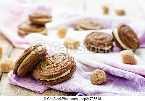 queijo, biscoitos, creme, sable, chocolate - csp24728618
