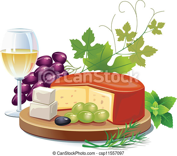 queijo, vinho branco - csp11557097