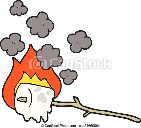 Freehand Queimadura Caricatura Marshmallow Desenhado