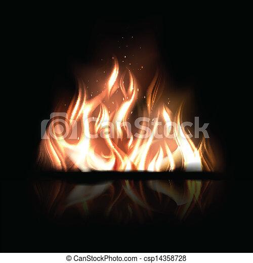 queimadura, fogo, ilustração, vetorial, experiência preta - csp14358728