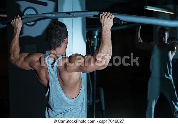 queixo, costas, exercício, ups - csp17046027