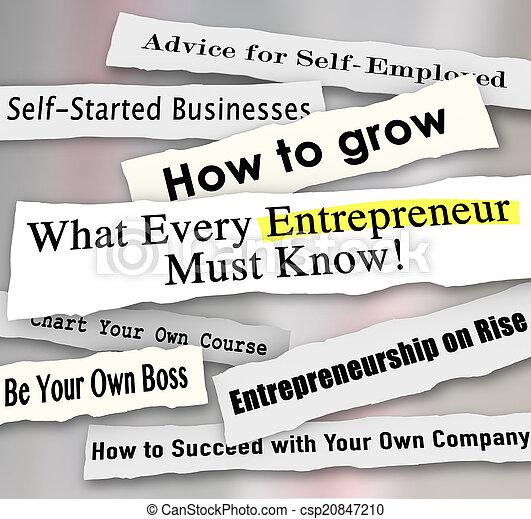 quel, business, déchiré, entrepreneur, papier, chaque, perso, gros titres - csp20847210