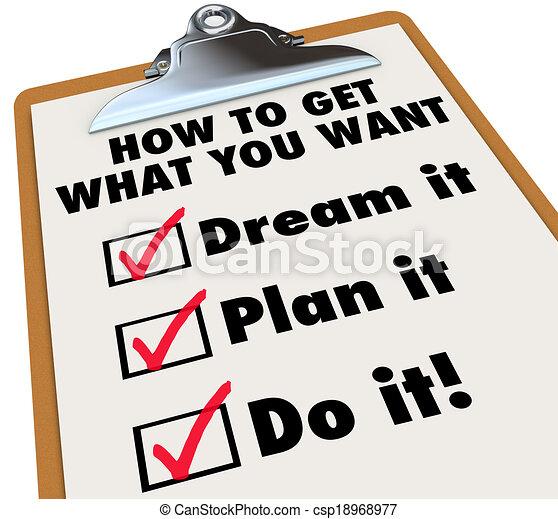 quel, obtenir, liste contrôle, il, comment, presse-papiers, plan, vouloir, vous, rêve - csp18968977