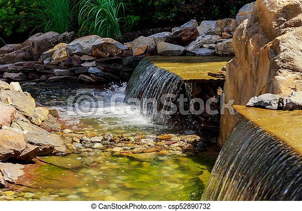 Quelle see k nstlich mitte wasserfall brunnen klein sommer park modern source see for Brunnen modern wasserfall