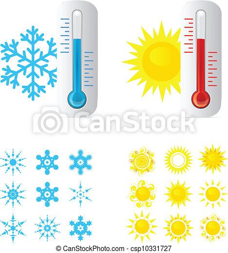 quentes, termômetro, gelado, temperatura - csp10331727